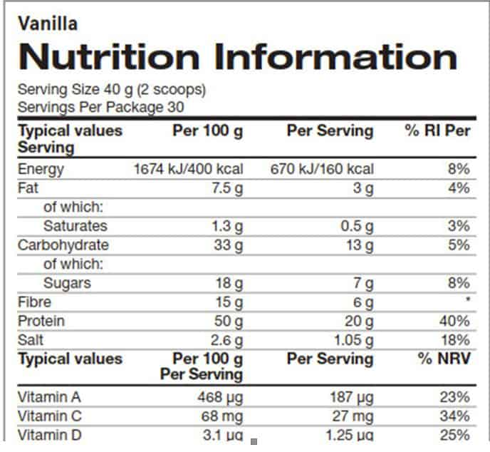 Arbonne nutrition label