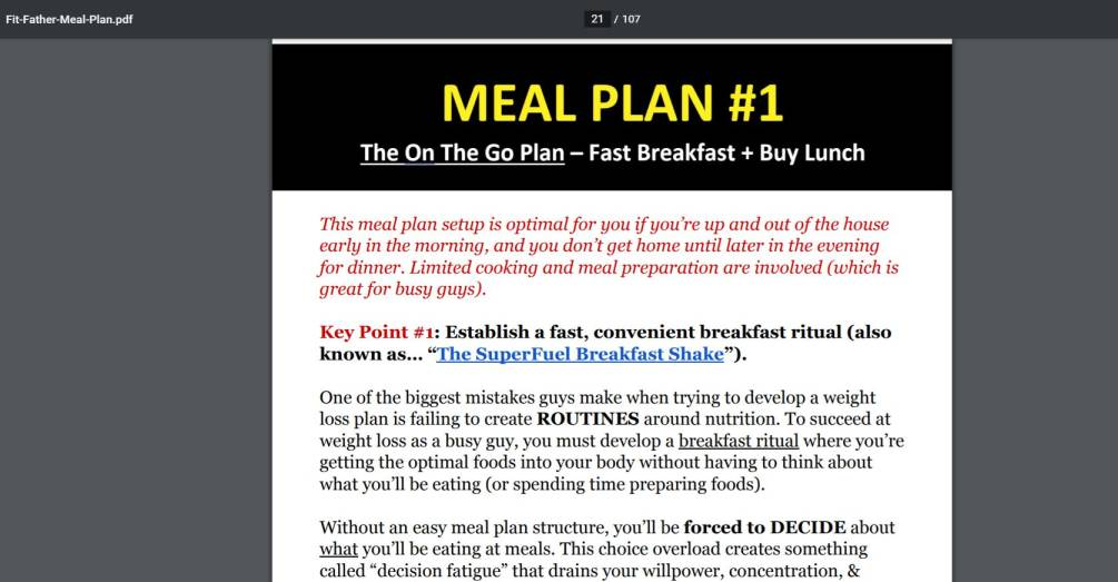 Meal Plan1 Preview. Fit father project 30x